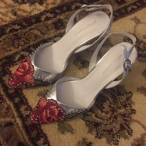 Jeffrey Campbell silver embroidered sling backs